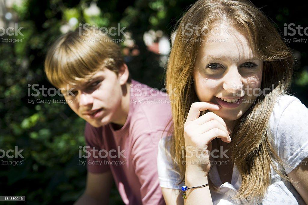 Pretty Teenage Couple royalty-free stock photo