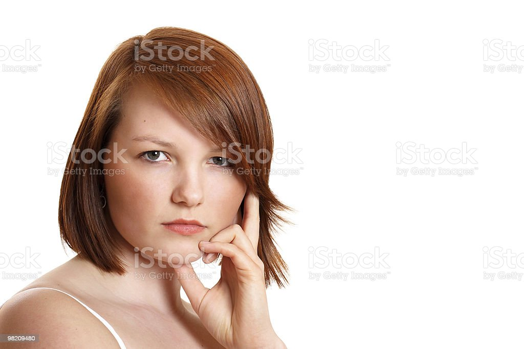 Pretty teenage girl looking thoughtful royalty-free stock photo