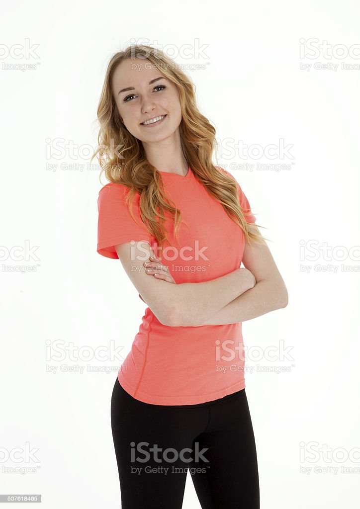 Pretty Teenage Girl Standing on White stock photo