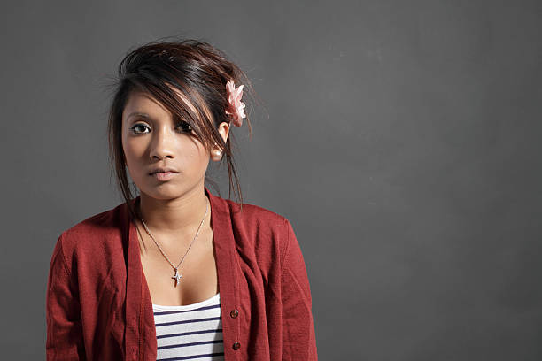 still portrait of pretty teenager guyanese girl - whiteway guyanese stock photos and pictures