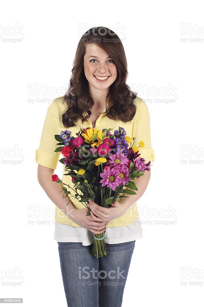 Pretty Teenager with a bouquet of flowers royalty-free stock photo