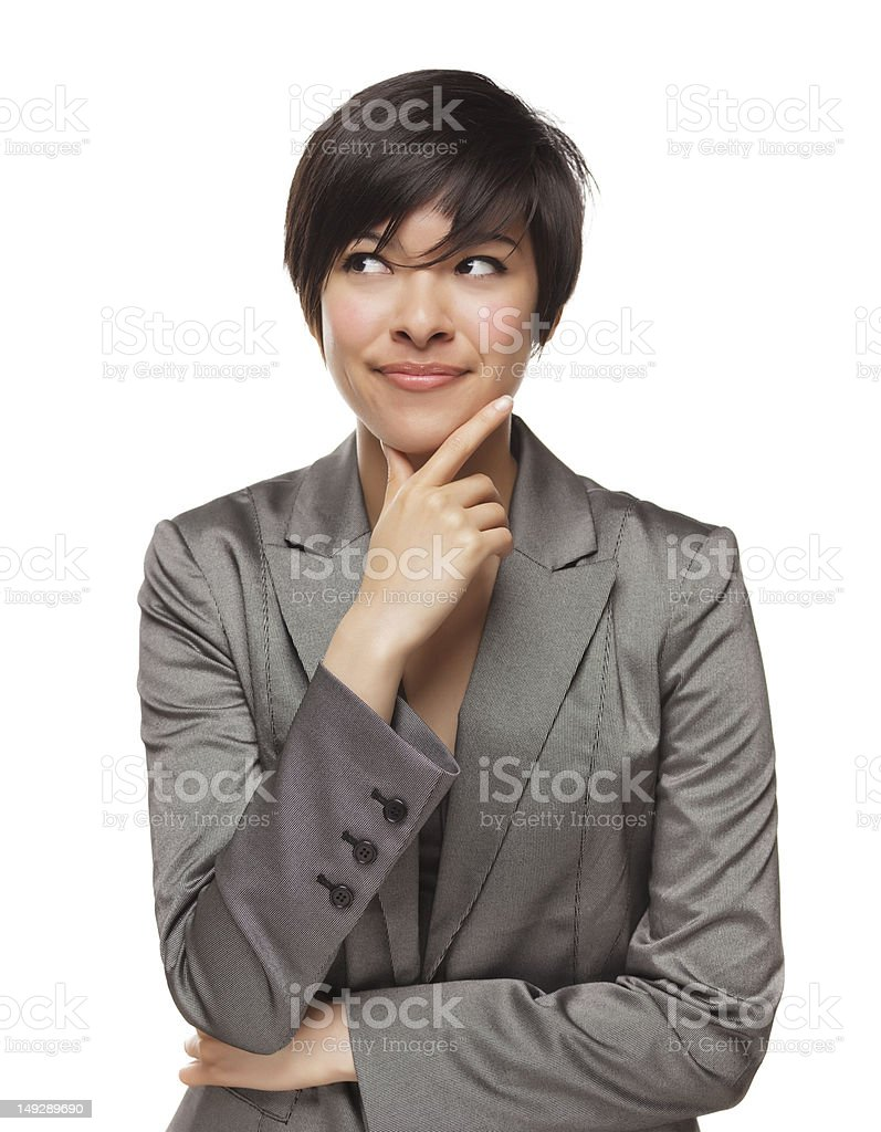 Pretty Thinking Mixed Race Young Adult Woman with Sideways Glance stock photo