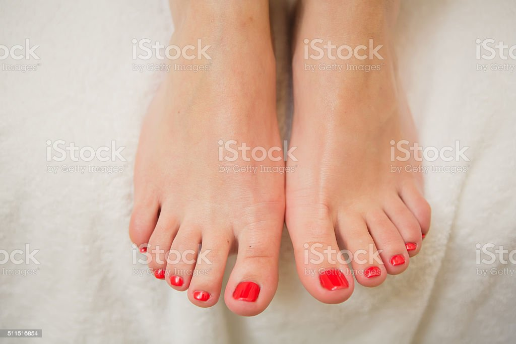 pretty toes with red nail polish stock photo more pictures of