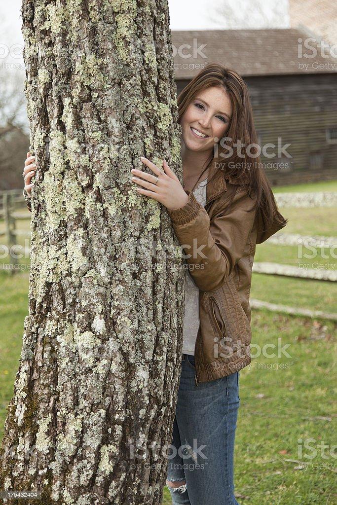 Pretty Tree Hugger stock photo