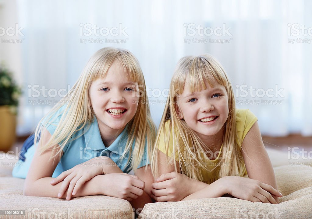 Pretty twins royalty-free stock photo