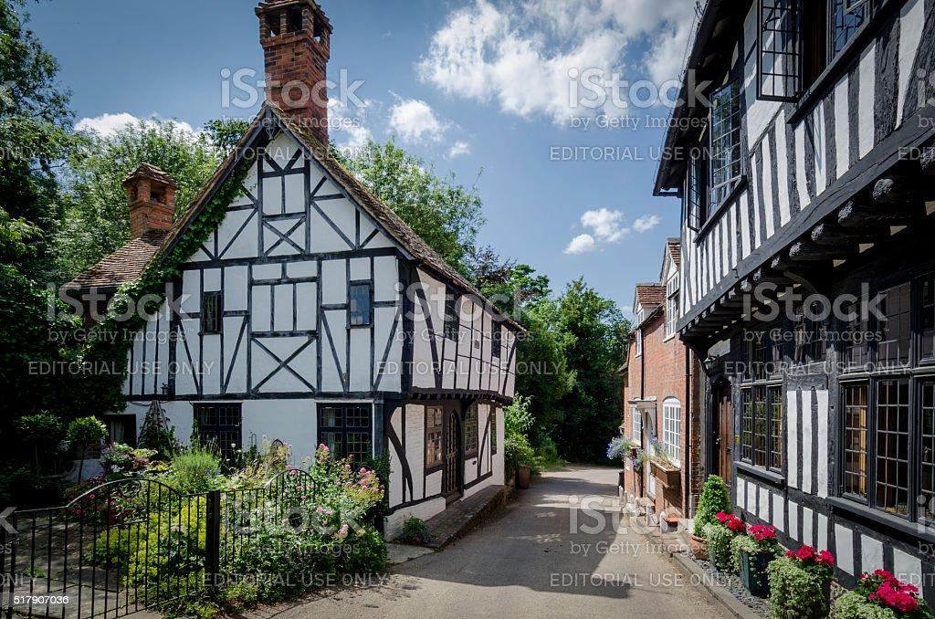Pretty Village Street stock photo