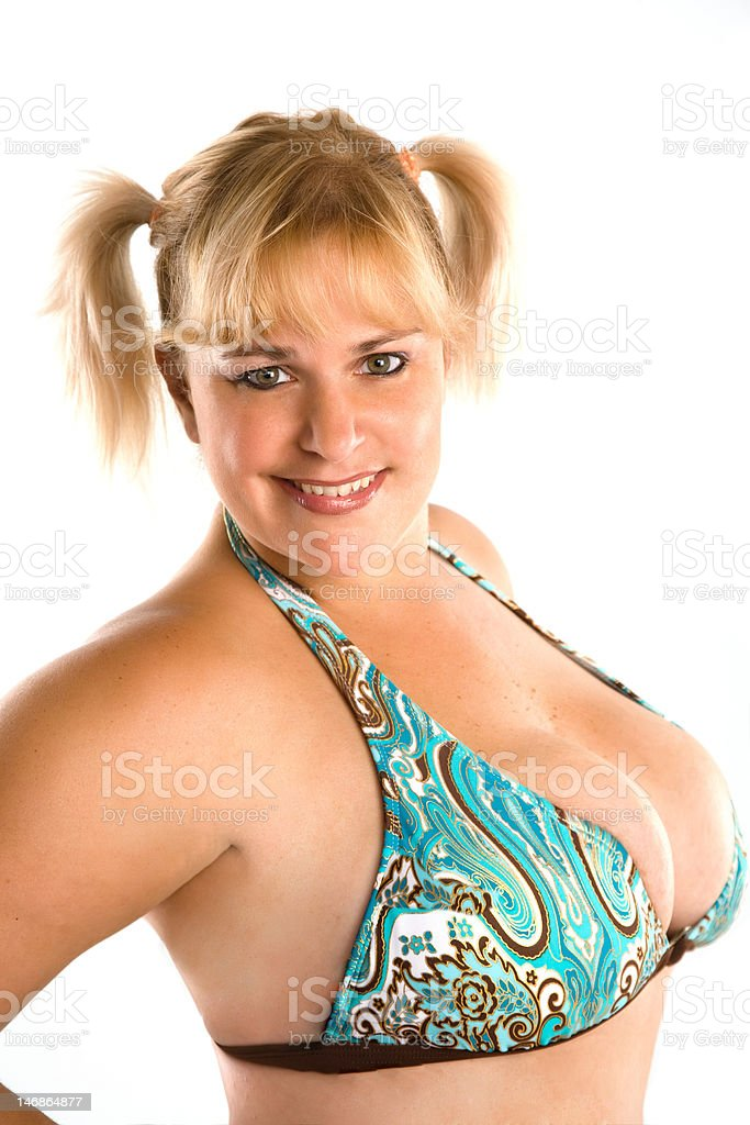 Pretty Voluptuous Woman In Pigtails Stock Photo