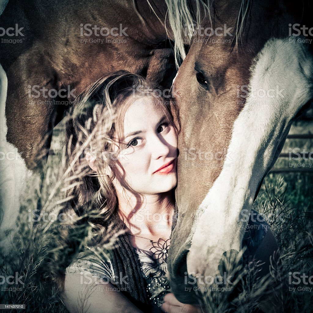 Pretty Woman And Her Horse stock photo