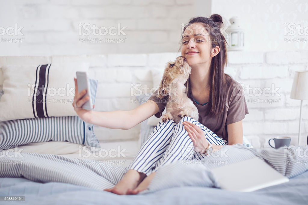 Pretty woman at home stock photo