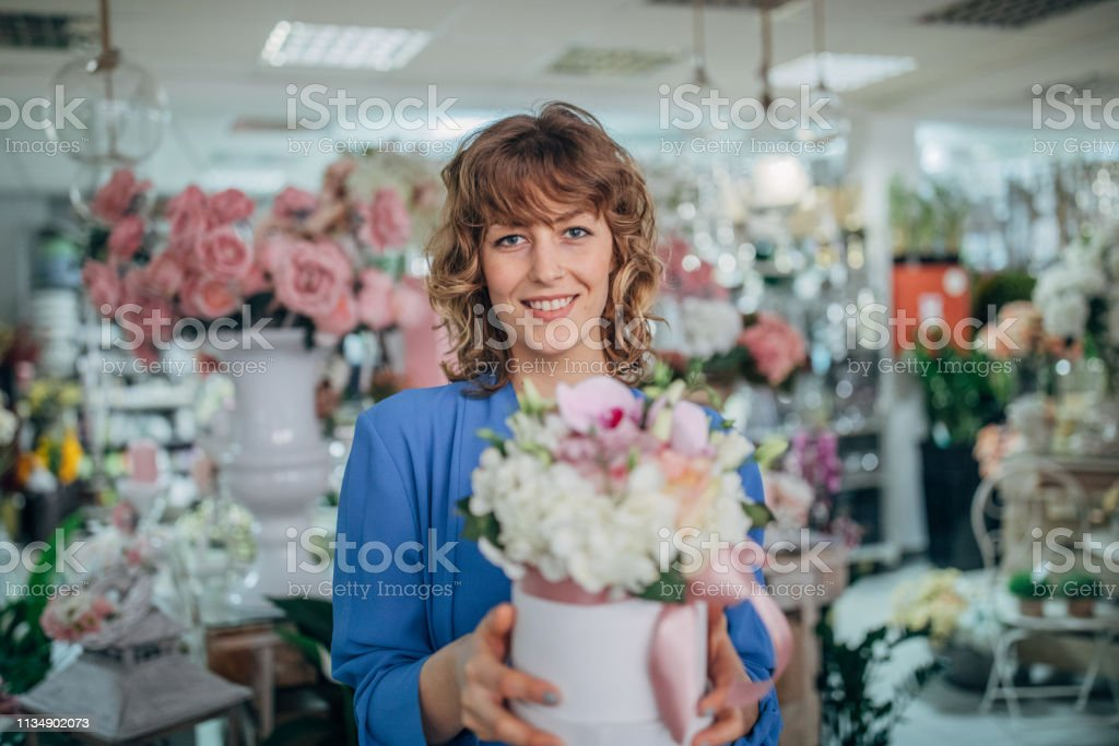 Woman at the flower shop
