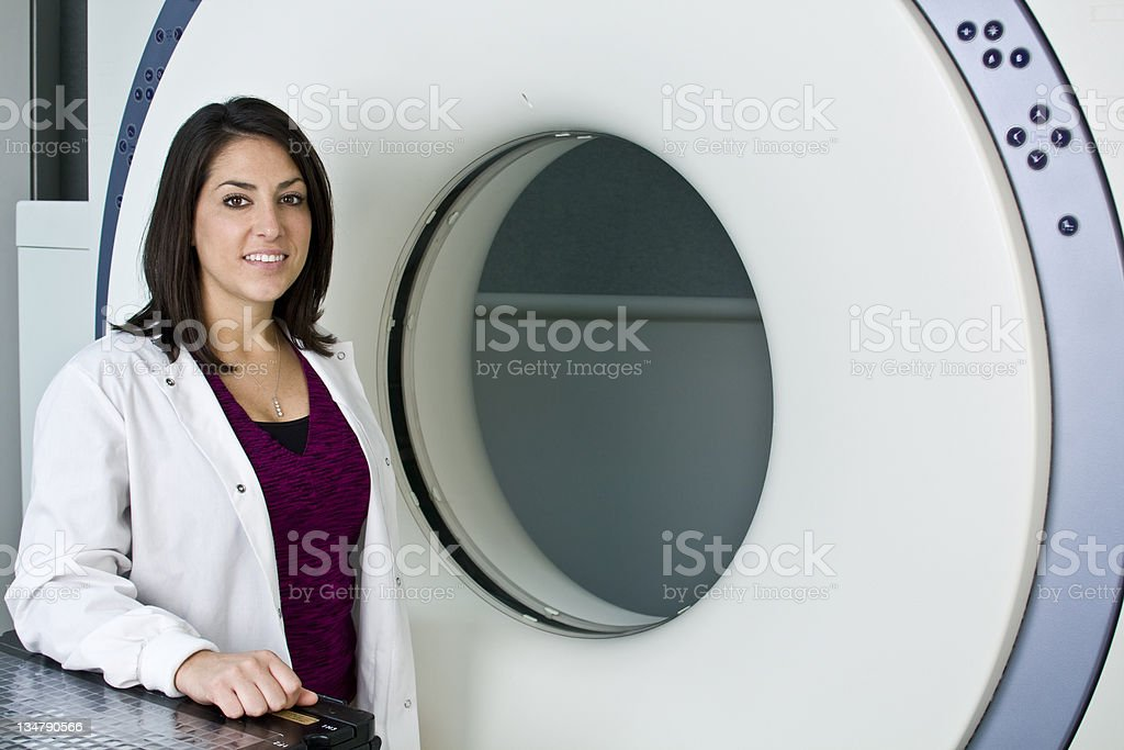 Pretty Woman CAT Scan Technologist royalty-free stock photo