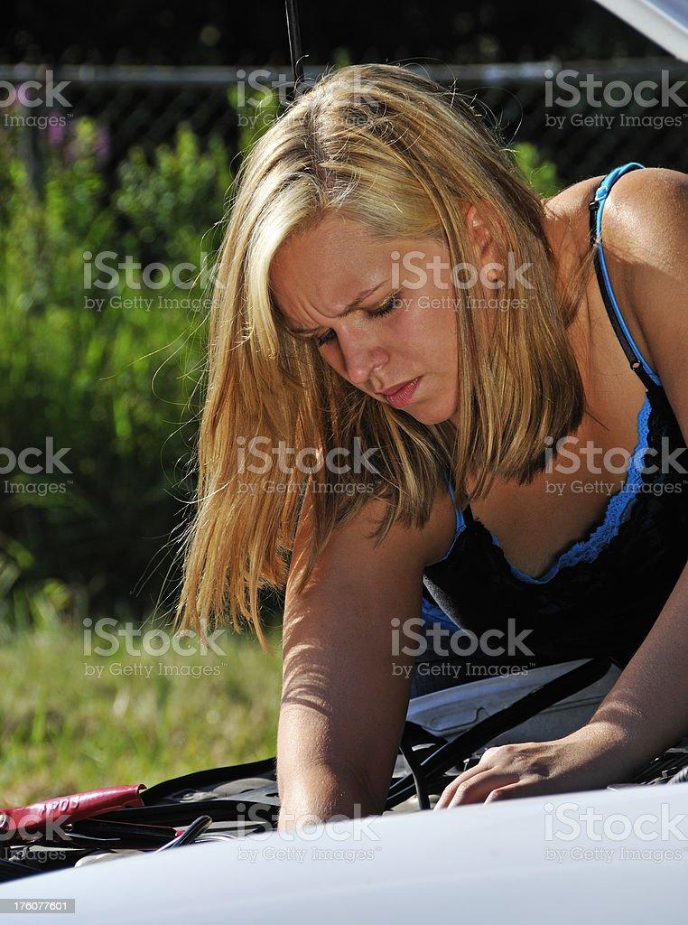 Pretty Woman DIY Car Mechanic royalty-free stock photo