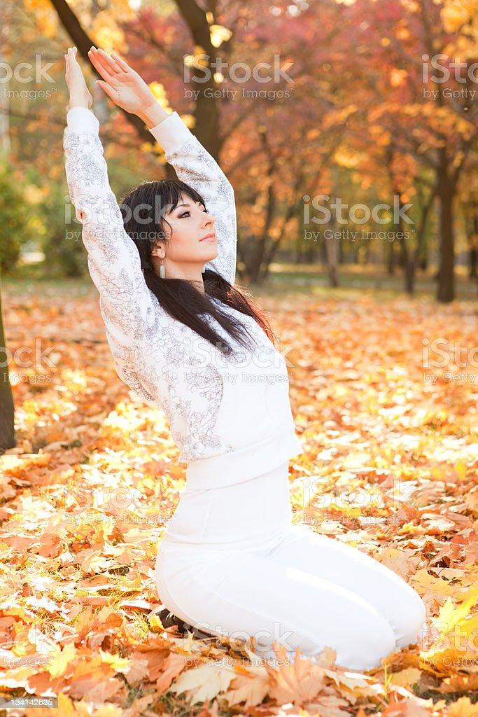 Pretty woman doing yoga exercises in the autumn park royalty-free stock photo