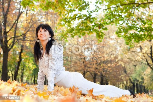 istock Pretty woman doing yoga exercises in the autumn park 177438955