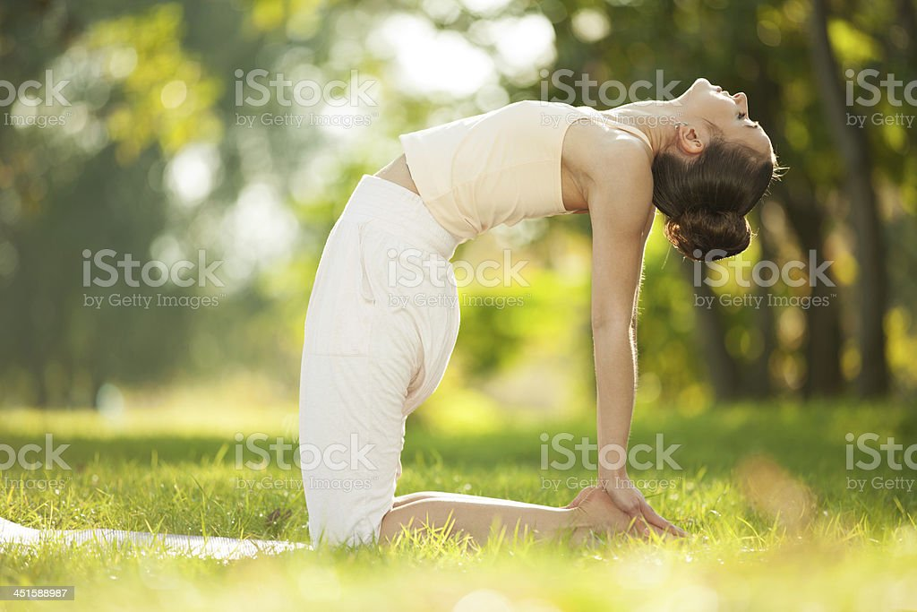 Pretty woman doing yoga exercises in the park Pretty woman doing yoga exercises in the park Active Lifestyle Stock Photo
