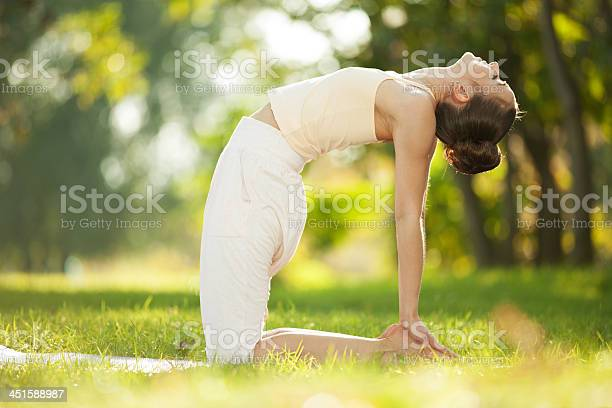 Pretty Woman Doing Yoga Exercises In The Park Stock Photo - Download Image Now