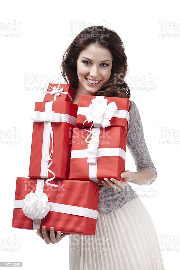 Pretty woman hands many presents stock photo