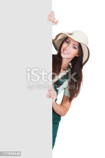 istock Pretty Woman Holding Blank Placard 177849448