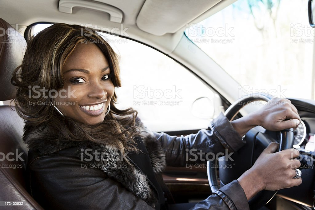 Pretty Woman in a Car royalty-free stock photo