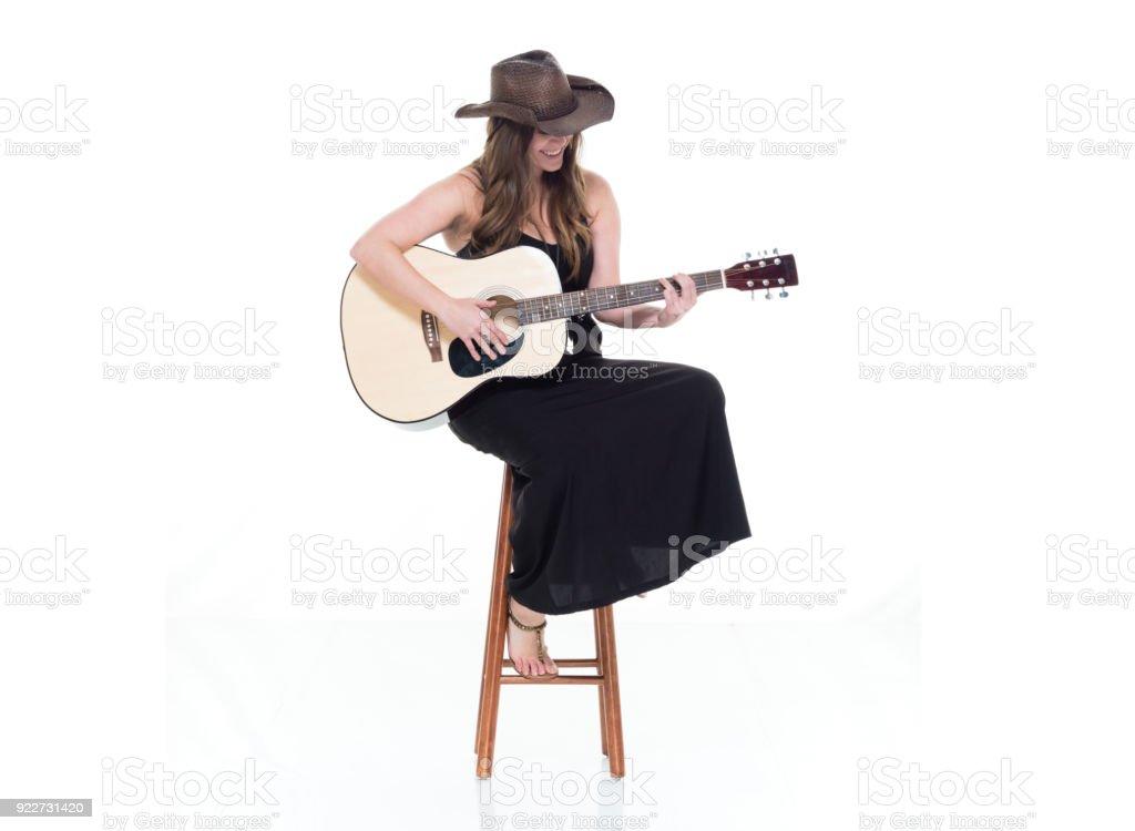 Pretty Woman In Black Dress Singer Songwriter Sitting On