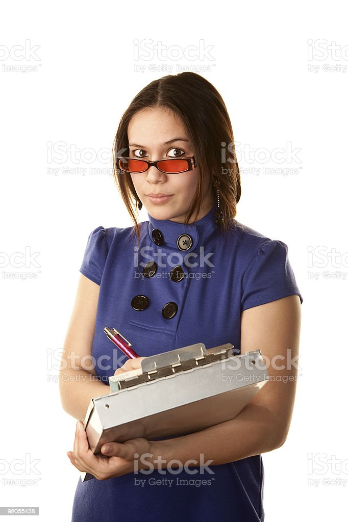 Pretty Woman in Blue Dress with Clipboard royalty-free stock photo