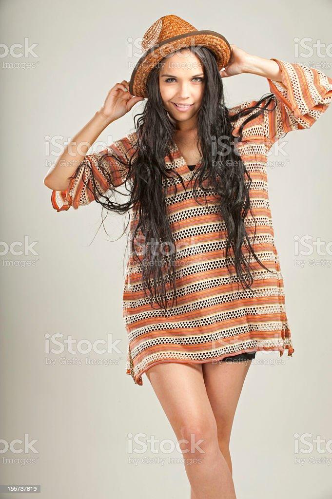 Pretty woman in hat stock photo