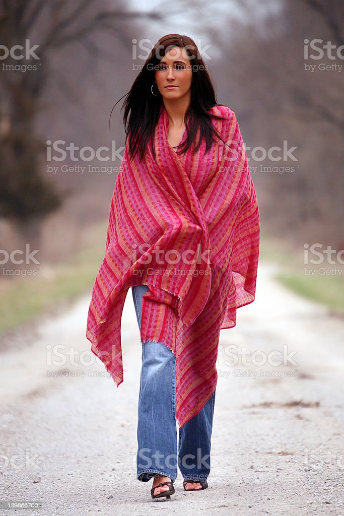 Pretty Woman in Red Shawl stock photo