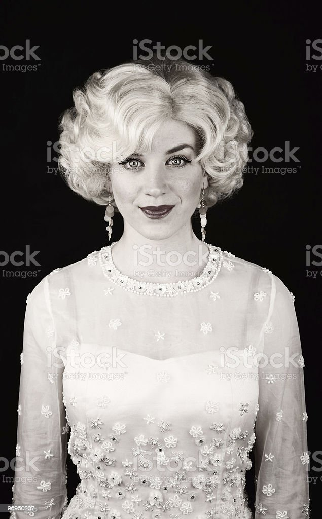 Pretty woman in retro dress royalty-free stock photo
