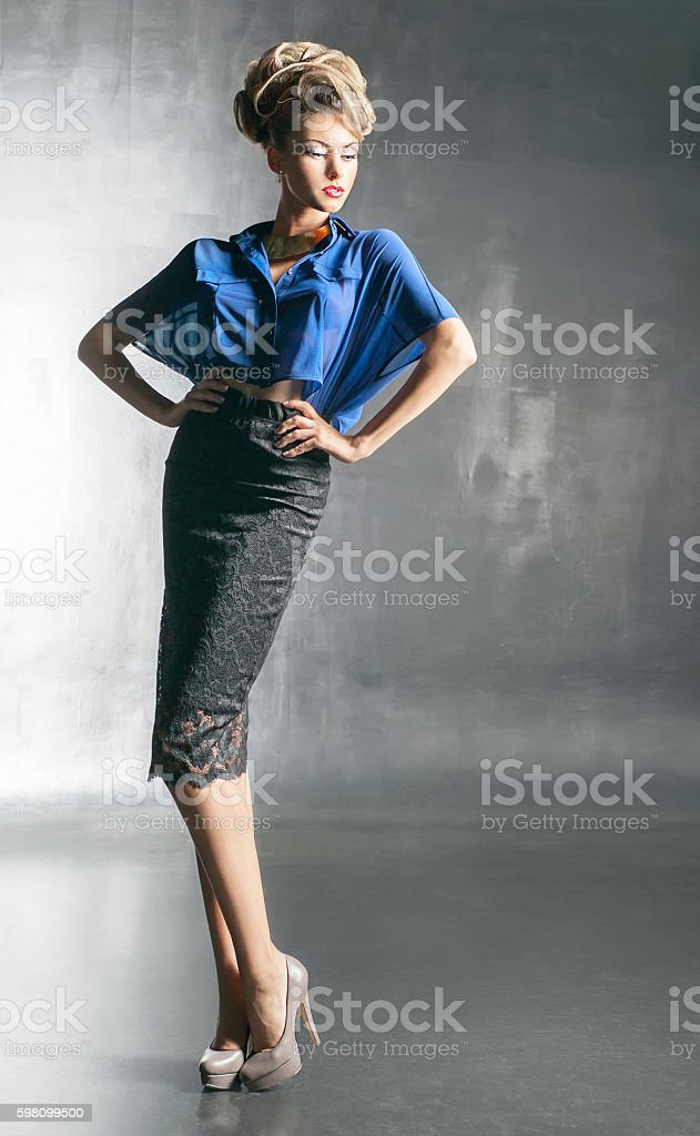 Pretty woman in the blue blouse stock photo