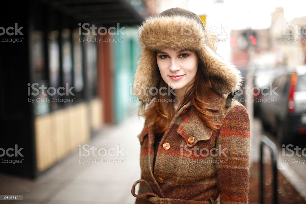 Pretty woman in the city royalty-free stock photo