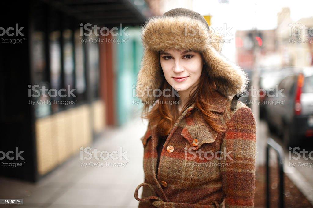 Pretty woman in the city stock photo