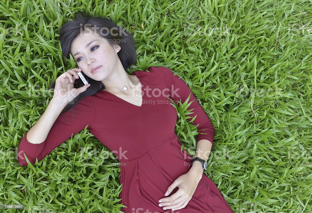 pretty woman  in the garden royalty-free stock photo