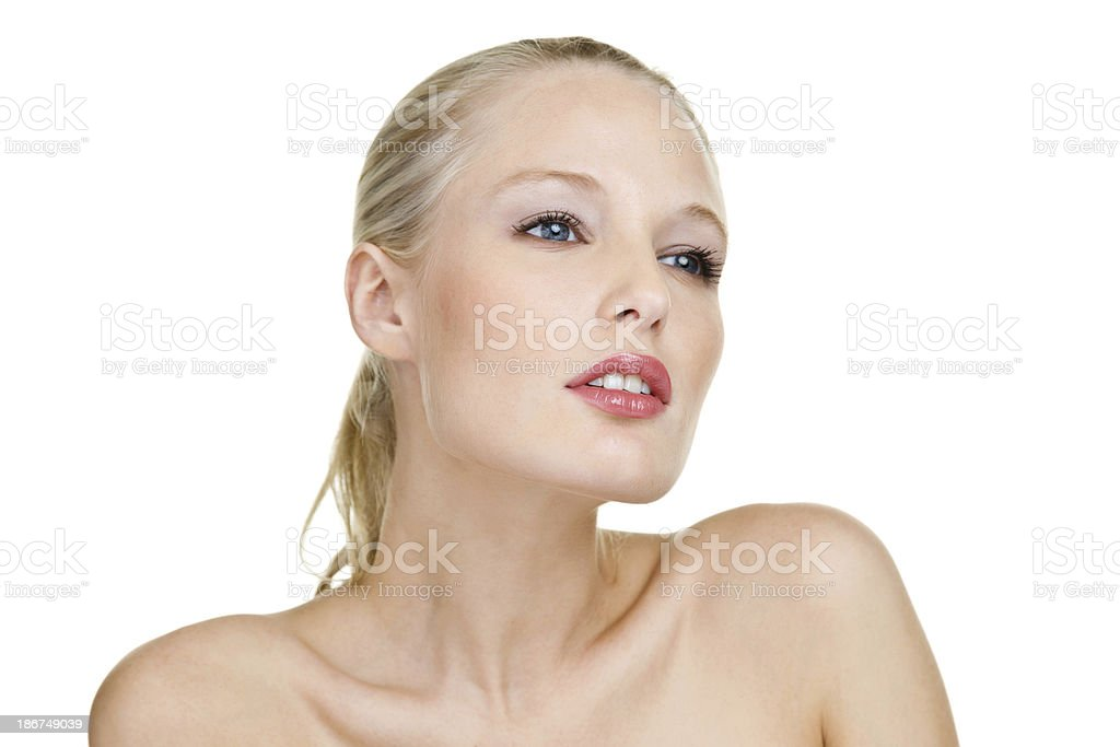 Pretty woman looking away from camera royalty-free stock photo