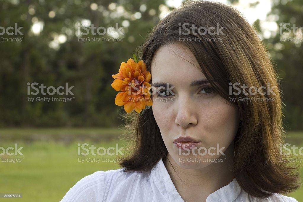 Pretty Woman Making Kissing Face royalty-free stock photo