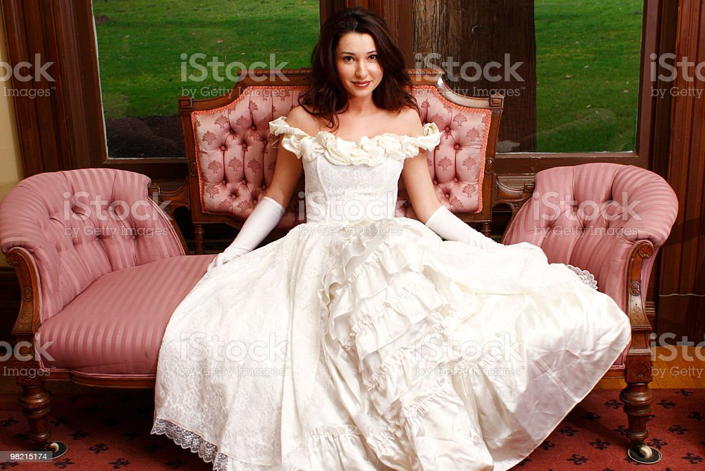 Pretty woman on sofa royalty-free stock photo