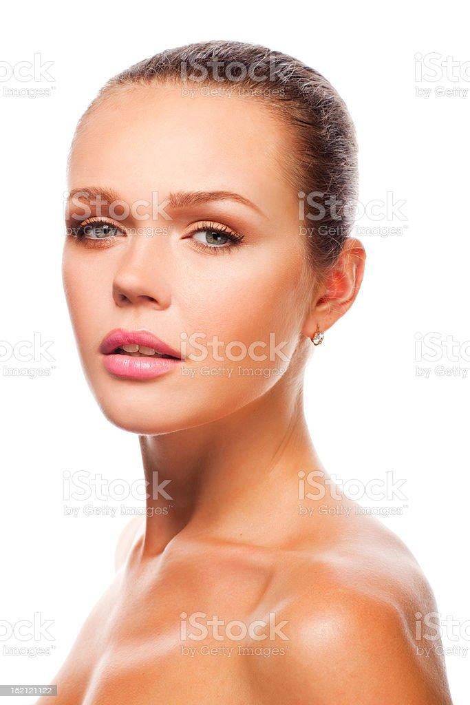 Pretty woman on white stock photo