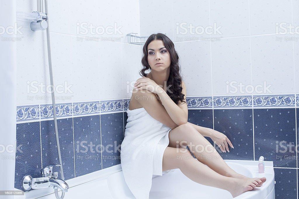 pretty woman portrait relax in bathroom interior royalty-free stock photo