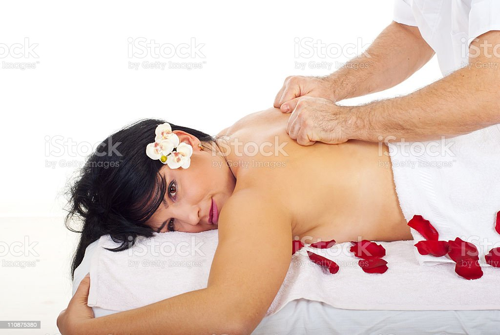 Pretty woman receive deep back massage royalty-free stock photo