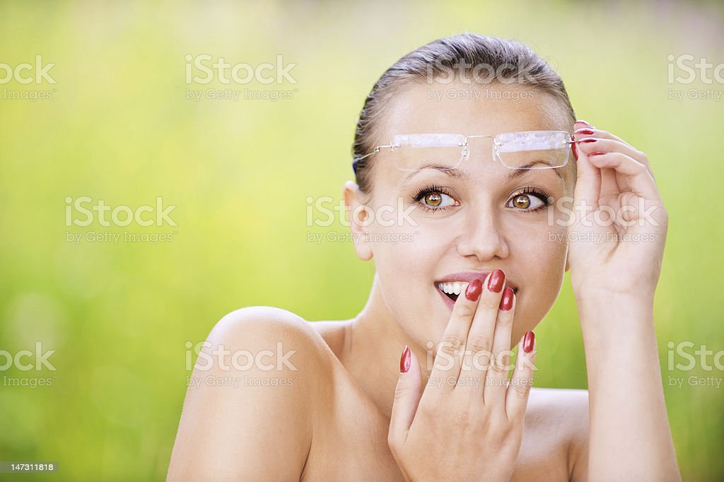 pretty woman sees something funny royalty-free stock photo