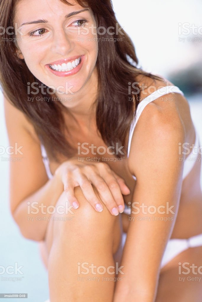 Pretty woman smiling for camera royalty-free stock photo