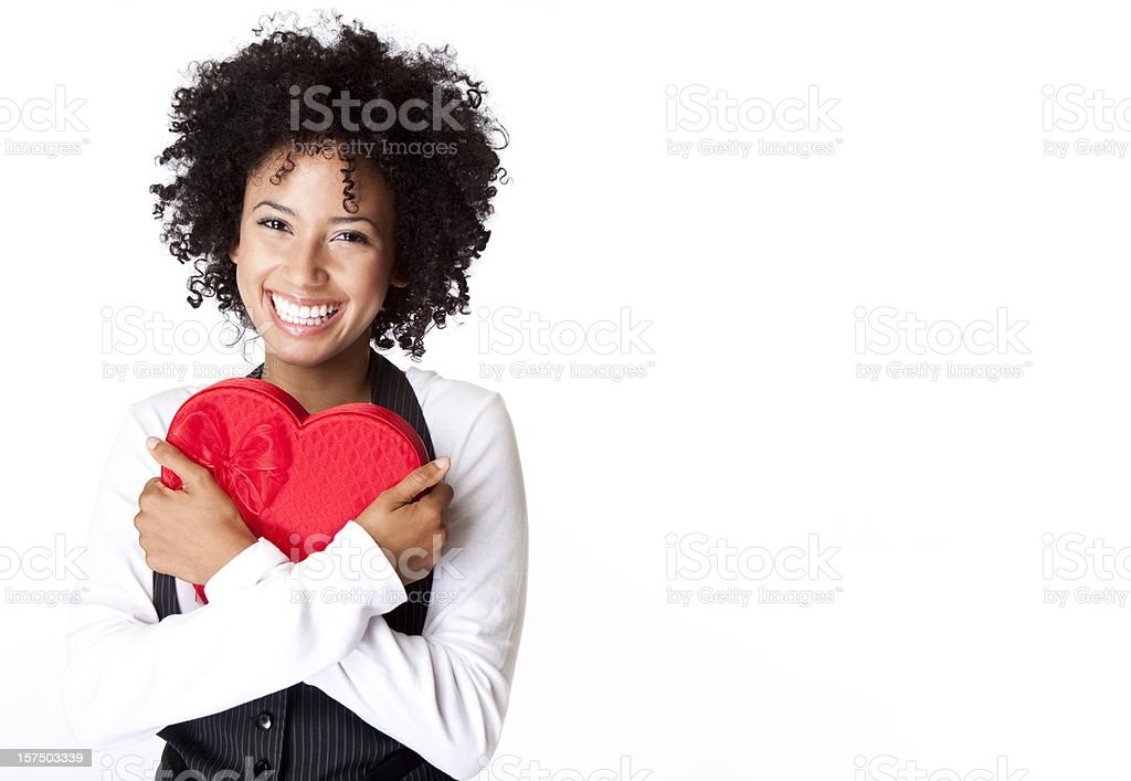 pretty woman squeezing Valentine box in her arms stock photo