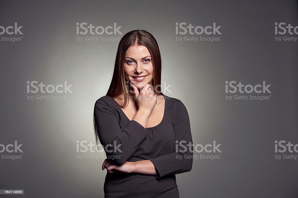 pretty woman thinking about something royalty-free stock photo