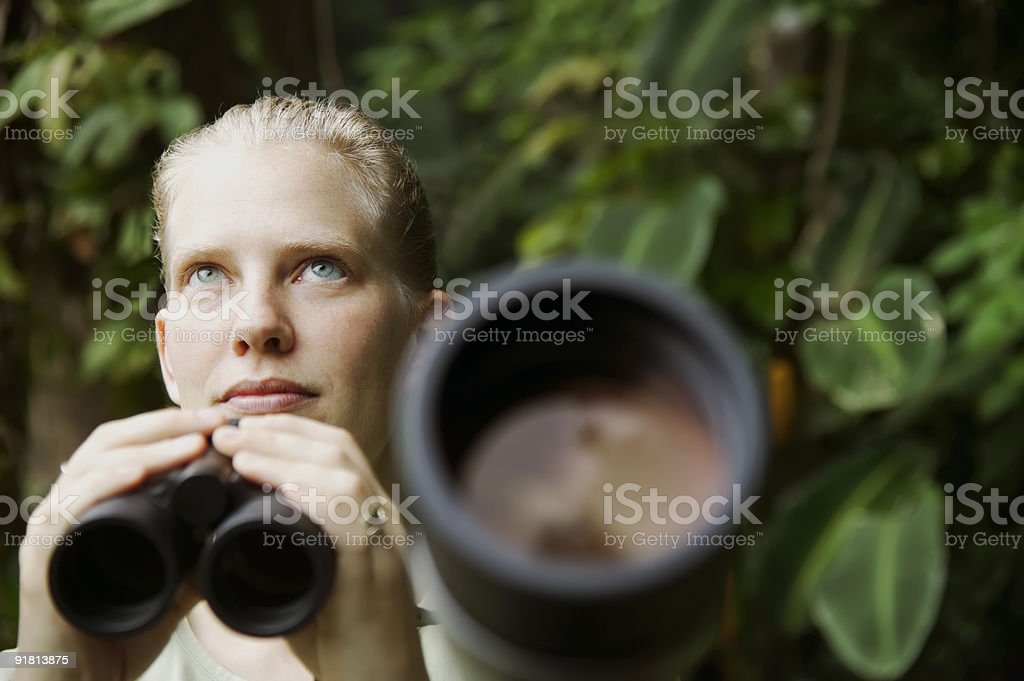 Pretty Woman with Binoculars in the Rain Forest royalty-free stock photo