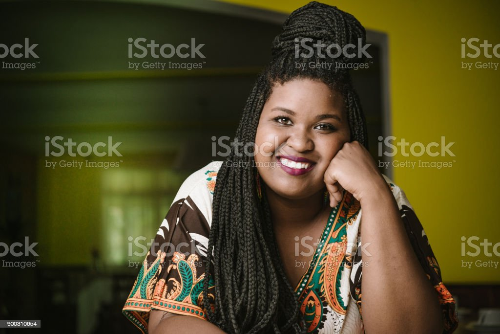 Pretty woman with braids stock photo
