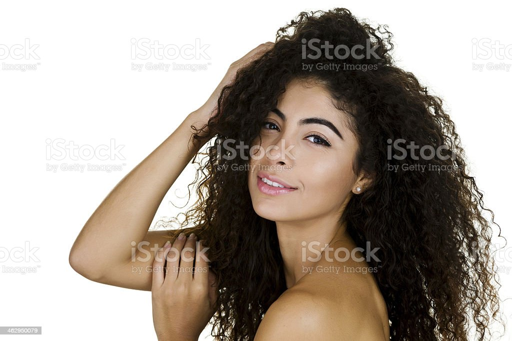 Pretty woman with curly hair stock photo