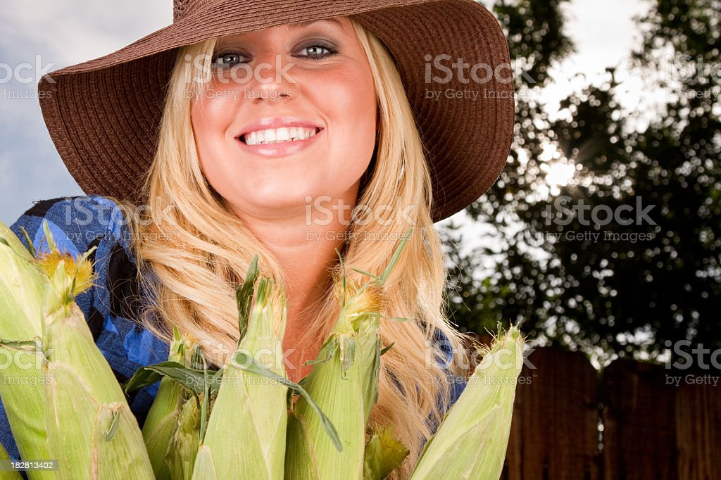 Pretty Woman With Ears of Corn royalty-free stock photo