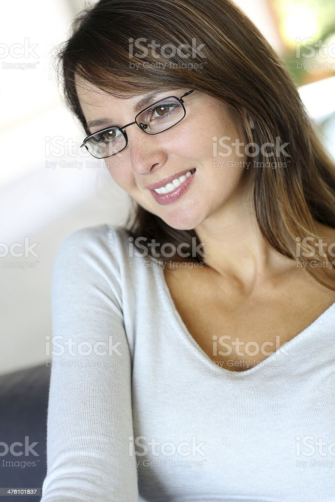 Pretty woman with eyeglasses royalty-free stock photo