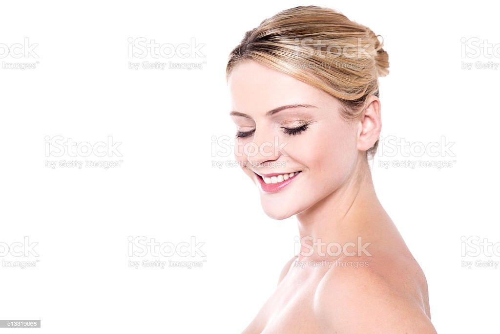 Pretty woman with glowing skin stock photo