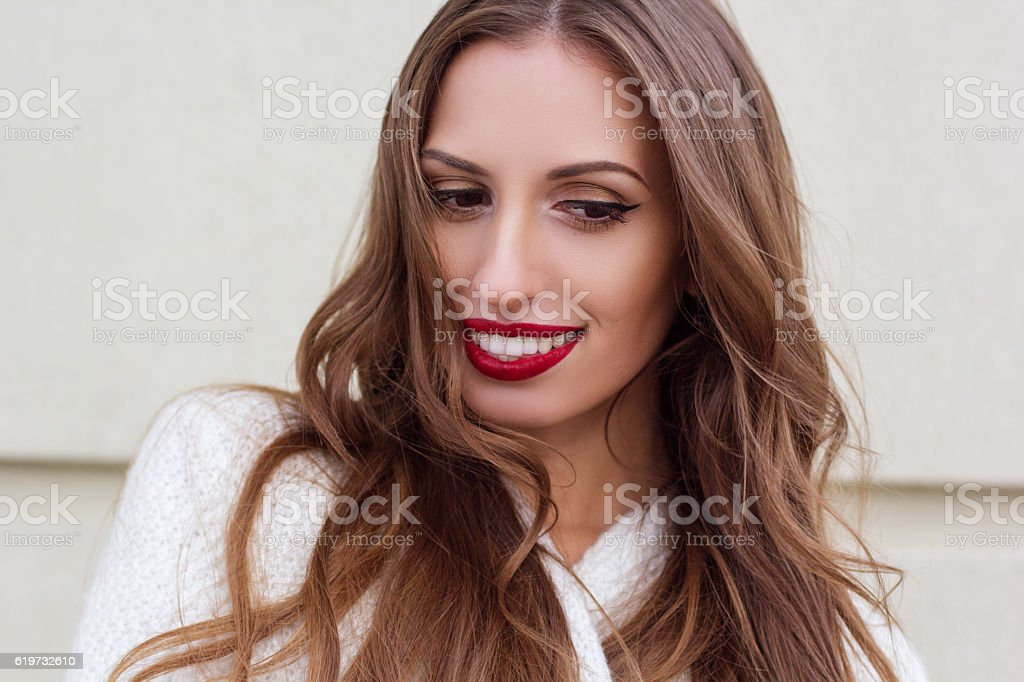 Pretty woman with perfect smile stock photo