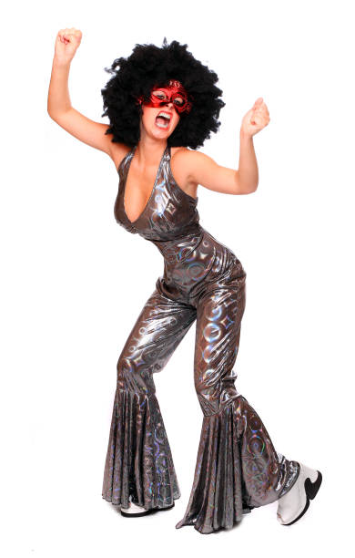 Pretty woman with red mask and afro hair-style dressed in luxury retro costume. stock photo